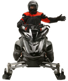 Snowmobiler hand signal for a left turn