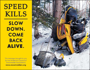 Snowmobile speeding endangers lives