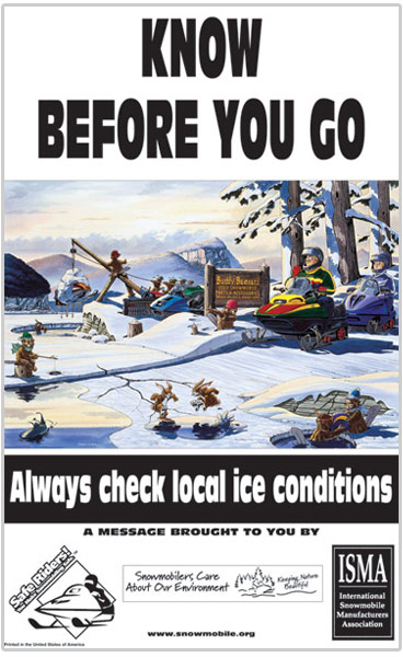 Poster promoting ice safety 'Know Before You Go'
