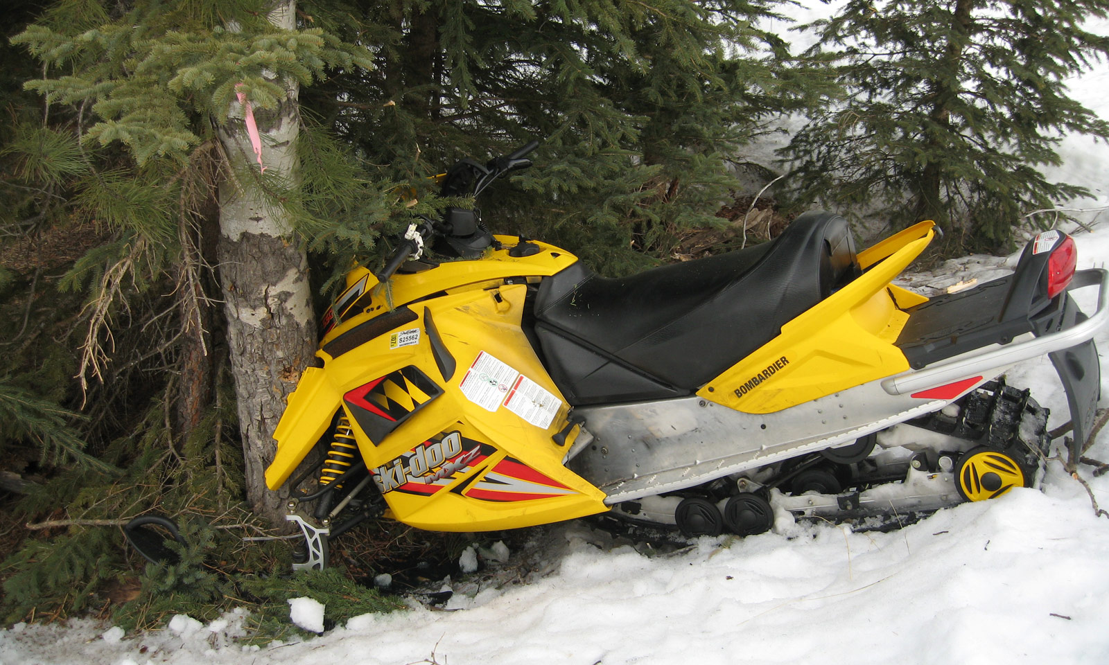 Snowmobile crashed into tree